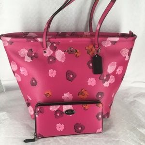 NWT Coach Pink Floral Tote & Zip Around Wallet Set